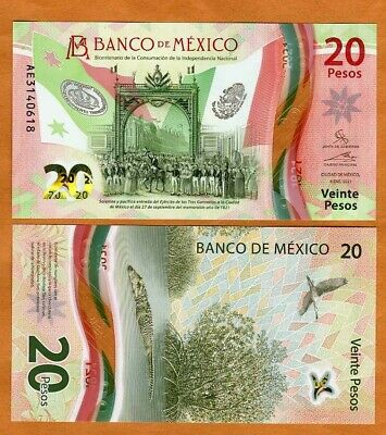 Mexico 20 Pesos 2021 Polymer P-New UNC  Commemorative Independence