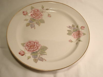 Paden City Pottery 9 38 Rimmed Dinner Plate Roses Leaves and Gold Trim