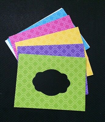 Handmade Chalkboard Note Cards - Set Of 5 Cards - Mixture Of Colors