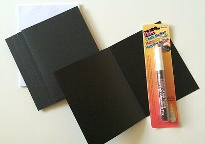 Set of 5 - Chalkboard Note Cards and White Chalk Ink Pen
