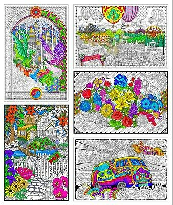 Giant Coloring Posters - 22x32-5 Inch Wall Poster 5-Pack
