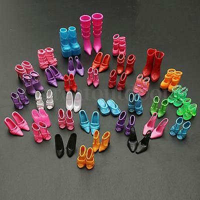 60 Pair 120 Pcs Doll Outfit Dress Fashion Clothes Shoes Heels Sandals For Barbie