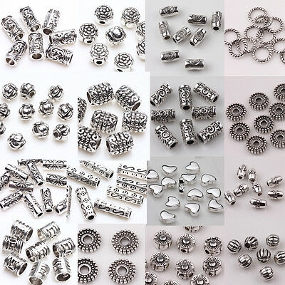 Wholesale 50100pcs Silver Plated Loose Spacer Beads Charms Jewelry Making DIY