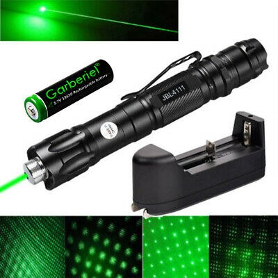 Military 10 Miles 532nm Green Laser Pointer Pen Visible Beam -Battery - Star Cap