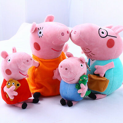4Pcs Peppa Pig Family Plush Doll Stuffed Toy 12 DADDY MOMMY 8 PEPPA GEORGE