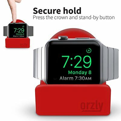 Night-Stand For Apple Watch 38mm - 42mm Holder Stand Cradle Red by Orzly®