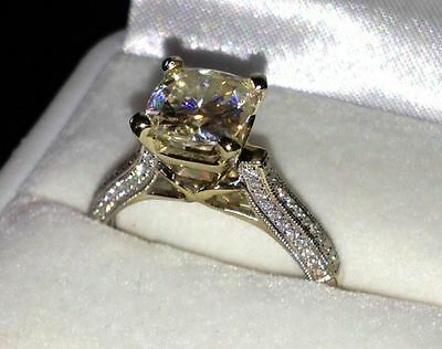 Real 14K Solid White gold 2-45c Round Brilliant cut Anniversary Engagement Ring