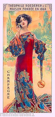 1894 Peacock Series I Woman Red Vintage French Nouveau Poster Advertisement