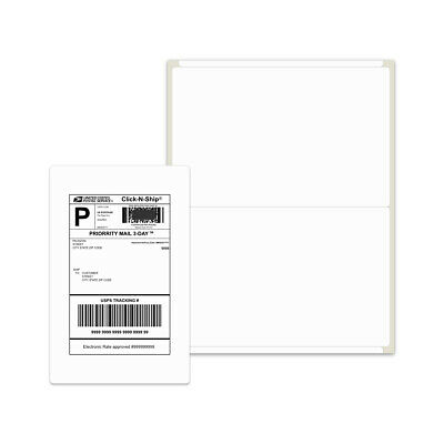 1000 Shipping Labels 8-5x5-5 Rounded Corner Self Adhesive 2 Per Sheet PACKZON®