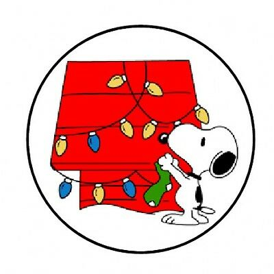 48 SNOOPY CHRISTMAS ENVELOPE SEALS LABELS STICKERS 1-2 ROUND