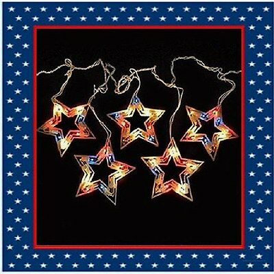 5 Count Patriotic Red White Blue Twinkle Stars Icicle Lights 4th of July New