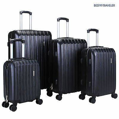 ABS Spinner 4Pcs Luggage Travel Set Bag Suitcase TSA Lock Black 16 20 24 28