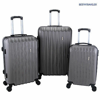 Set of 3 Luggage Set Travel Bag  with Lock ABS Trolley Spinner Carry On Suitcase