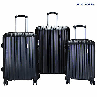 Set of 3 Luggage Set Travel Bag ABS Trolley Spinner Suitcase wLock 20 24 28
