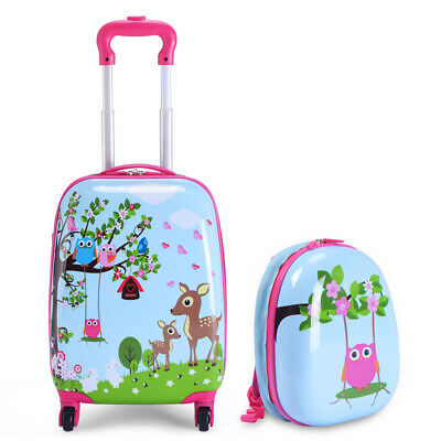 2Pc 12 16 Kids Luggage Set Suitcase Backpack School Travel Trolley ABS New