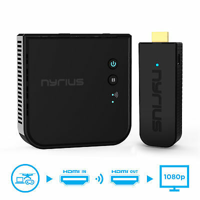Nyrius Pro Wireless HDMI Transmitter - Receiver to Stream HD 1080p 3D Video