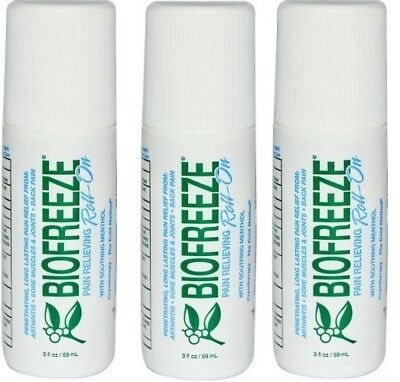 BIOFREEZE 3 OZ ROLL ON GEL - Pack Of 3 Brand New