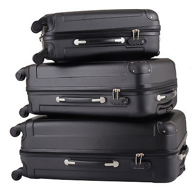 BHC 3 Pcs Luggage Coded Lock Travel Set Bag ABS-PC Trolley Suitcase Black New
