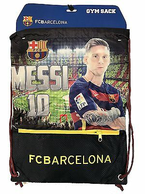 Messi Cinch Bag Sack Fc Barcelona Soccer Book  Backpack Authentic Official