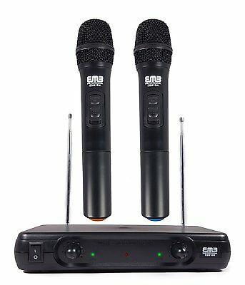 2 Professional Wireless Microphone Dual VHF Wireless Handheld Microphone System