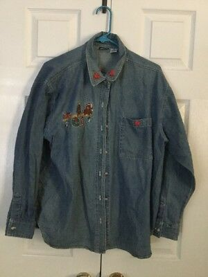 Christmas Denim Shirt Embroidery And Hand Ribbon Embroidery