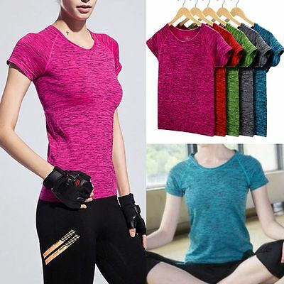 Damen Fitness Sport T shirt Kurzarm Yoga Fitnessraum Jogging Damen Training