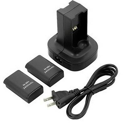 Dual Battery Charger Charging Station Dock - 2x Battery For Xbox 360 Controller