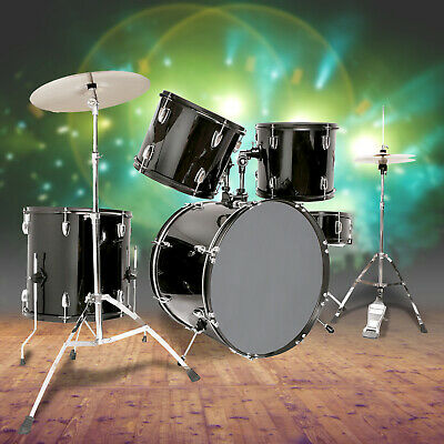 5 Piece Complete Adult Drum Set Cymbals Full Size Kit with Stool - Sticks Black