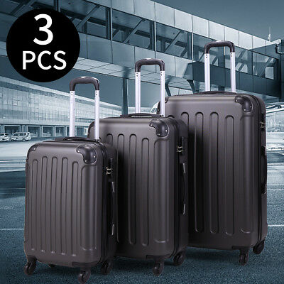BHC 3 Pcs Luggage Coded Lock Travel Set Bag ABS-PC Trolley Suitcase Gray New