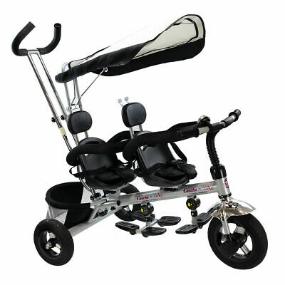 4 In 1 Twins Kids Baby Stroller Tricycle Safety Double Rotatable Seat w Basket