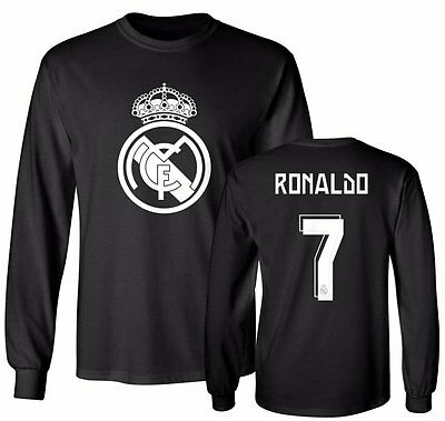 Real Madrid Shirt Cristiano Ronaldo 7 Soccer Jersey Shirt Long Sleeve T-Shirt