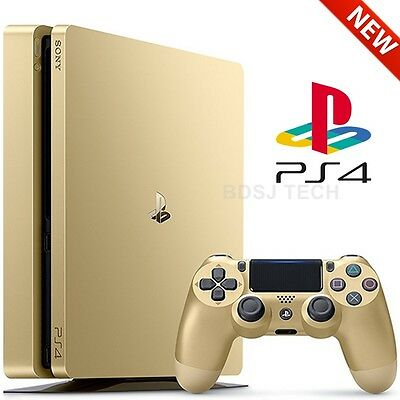 PlayStation 4 Slim 1TB Console - PS4 GOLD LIMITED Edition Sealed Retail Box