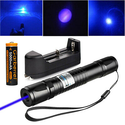 Military 20 Miles Blue Purple 405nm Laser Pointer Pen Visible Beam-18650-Charger