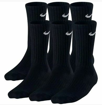 Nike Performance Cotton Cushioned Mens Crew BLACK  Socks 3 or 6 Pairs Size 8-12