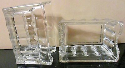 SUGAR PACKET HOLDERS SET of 2 BEVELED GLASS 3 12 L x 2 12 W x 2 14 D