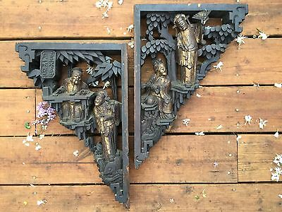 A pair of Chinese carved architectural figural corbels18th century