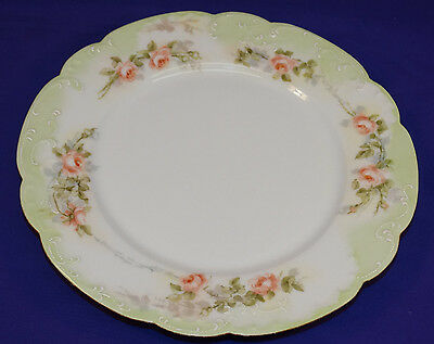 ANTIQUE HAVILAND LIMOGES 9 12 PLATE HAND PAINTED PINK ROSES ON MARSEILLE BLANK