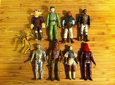 Vintage Star Wars Original Lot of 9 Action Figures C3PO Chewbacca Leia
