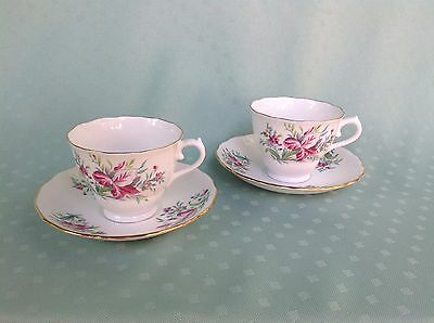 Mothers Day - Pair VTG Colclough Bone China Cups - Saucers Iris Flower ENGLAND