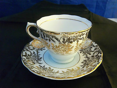 Vintage Colclough Genuine Bone China Gold Filigree With White Tea Cup and Saucer
