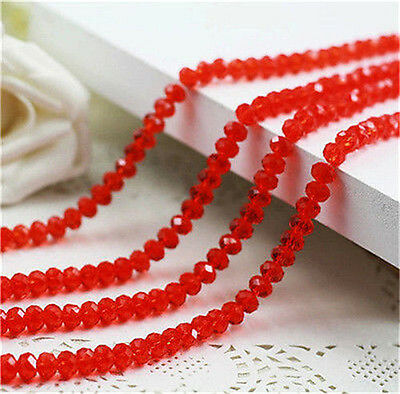 DIY Jewelry Faceted Rondelle Glass Crystal 68mm Red Beads 70pcs