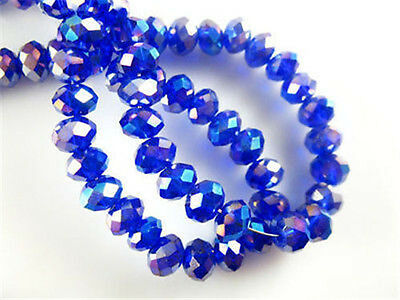 DIY Rondelle Faceted Crystal Glass Loose Spacer 68mm  Beads 70pcs