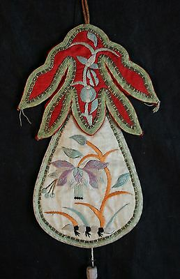 Fine Antique Chinese 19th Century Embroidered Silk Pendant Necklace  2