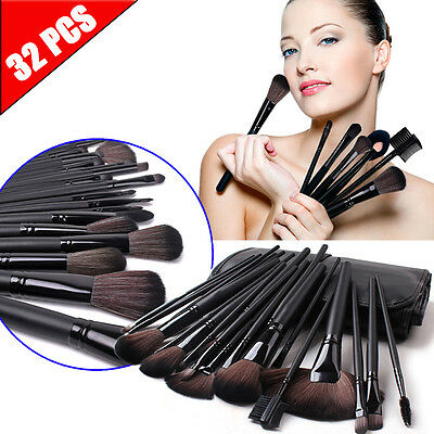32pcs Professional Cosmetic Soft Eyebrow Shadow Makeup Brush Set Kit- Pouch Case