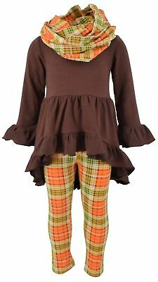 Girls 3 Piece Fall Colors Thanksgiving Legging Set Outfit