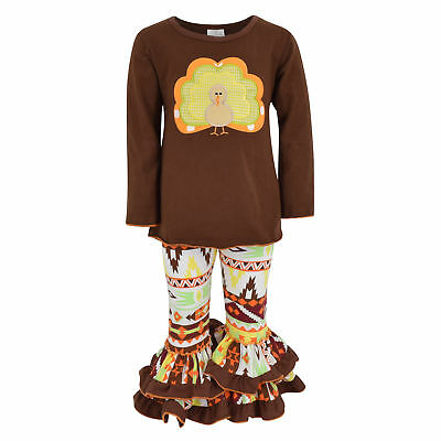 Girls 2 Piece Turkey Fall Colors Thanksgiving Legging Set Outfit