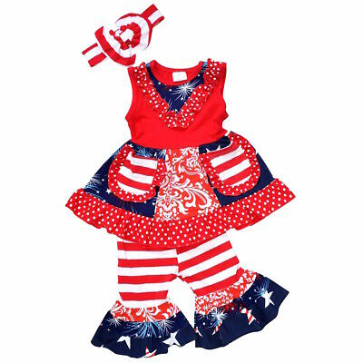 Girls 4th of July Tank Boutique Outfit with Headband Outfit