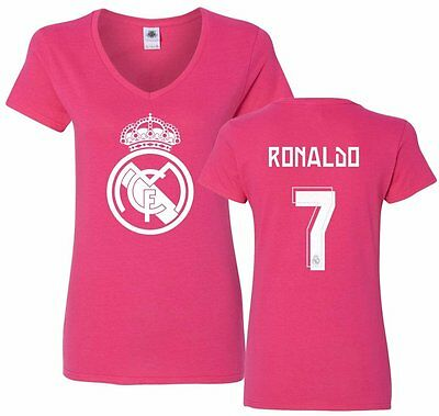 FC Real Madrid Shirt Cristiano Ronaldo 7 Womens V-Neck CR7 Jersey Tshirt