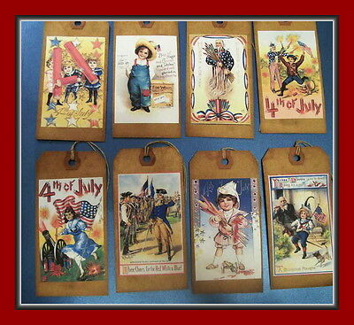 4TH OF JULY PRIMITIVE POSTCARD PATRIOTIC - HANG TAGS - SET OF EIGHT