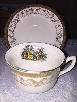 Supreme Chinaware Victorian Courting Couple Cup and Saucer Hand Painted